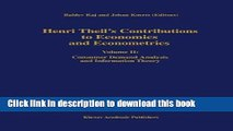 Books Henri Theil s Contributions to Economics and Econometrics: Volume II: Consumer Demand