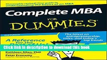 [Popular] Complete MBA For Dummies Kindle Online