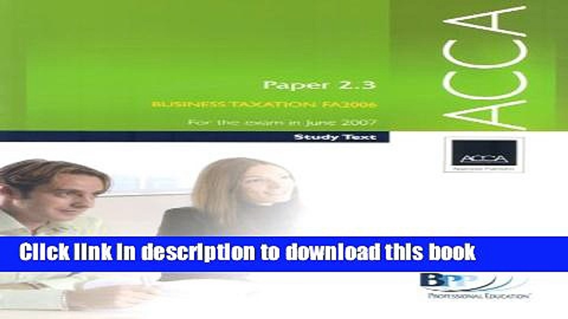 [Popular] ACCA Paper 2.3 Business Taxation FA 2006 2006: Study Text Paperback Free