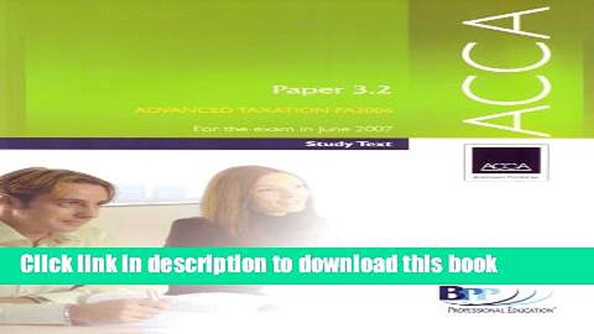[Popular] ACCA Paper 3.2 Advanced Taxation FA 2006 2006 Kindle Free