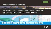 [Popular Books] Parry s Valuation and Investment Tables Free Online