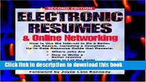 [Popular Books] Electronic Resumes   Online Marketing,: Second Edition (Electronic Resumes