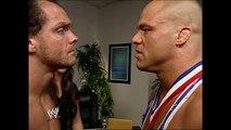 Stephanie McMahon & Kurt Angle & Chris Benoit Backstage SmackDown 10.10.2002 (HD)