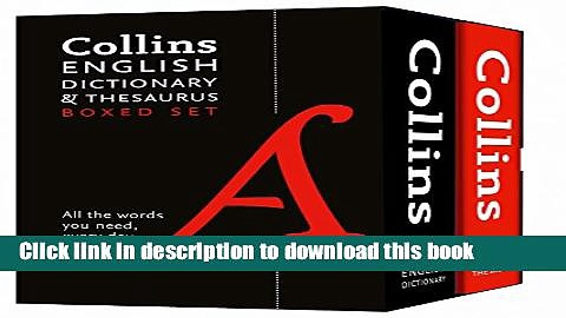 [Popular Books] Collins English Dictionary and Thesaurus Set Full Online