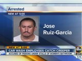 Police: Car wash employees chase, hold man accused of peeking in women's bathroom