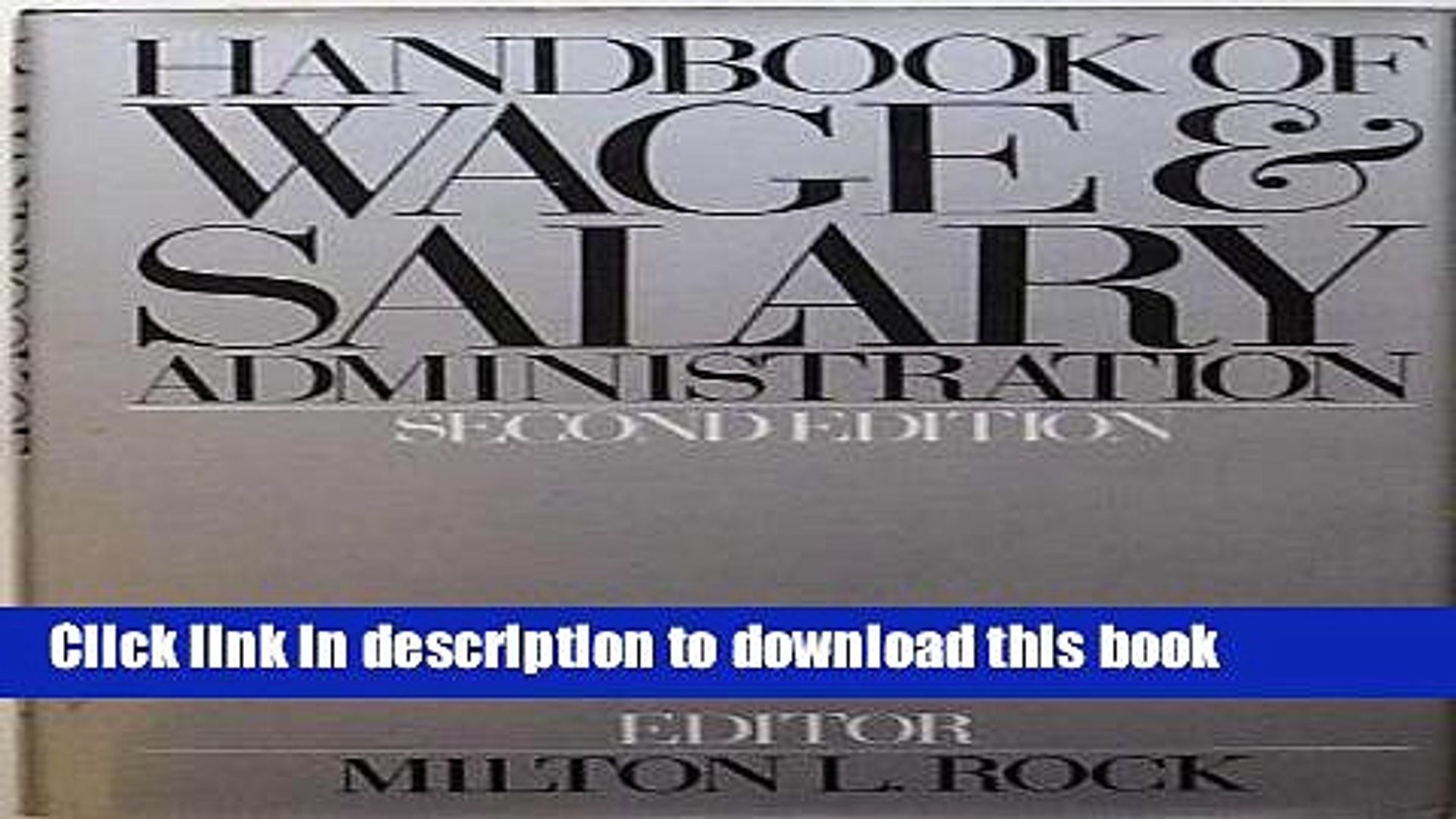 [Read PDF] Handbook of Wage and Salary Administration Download Online