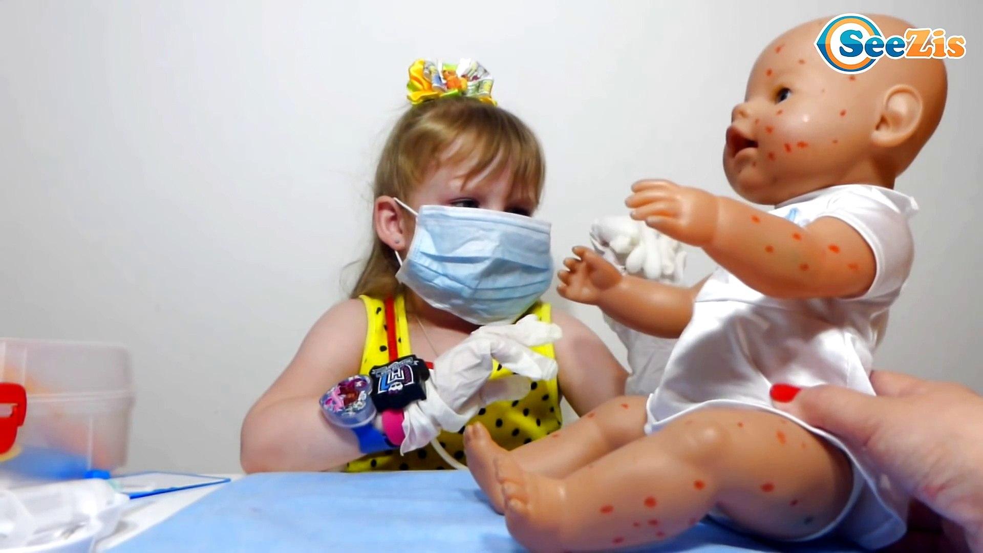 Кукла Беби Борн. ДОКТОР НИКА Лечит Ветрянку. Доктор делает укол Кукле. Видео для детей. Baby Born