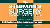 Collection Book Stedman s Surgery Words: Includes Anatomy, Anesthesia   Pain Management (Stedman s