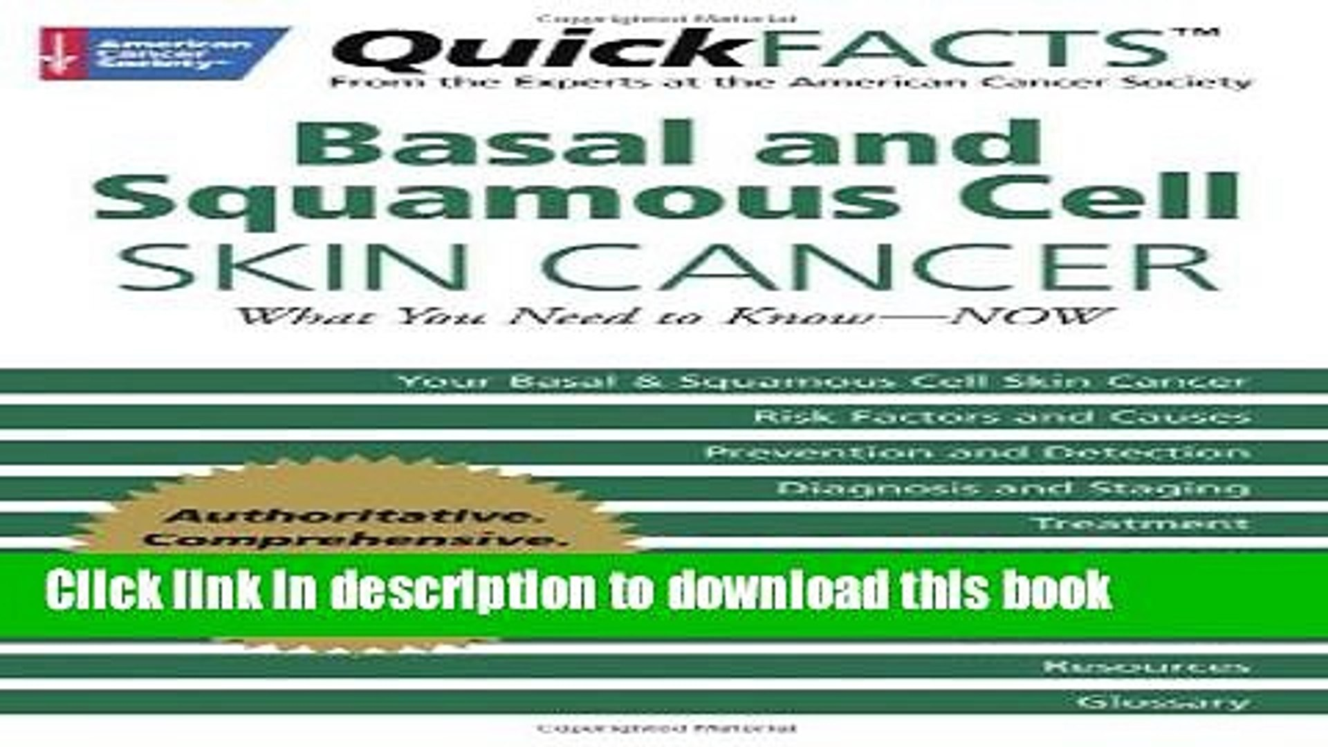 Collection Book Quickfacts Basal And Squamous Cell Skin Cancer What You Need To Know Now Video Dailymotion