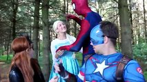 Spiderman Sits on Frozen Elsa!!! w_ Joker Maleficent Spidergirl Anna Catwoman! Superhero Fun IRL -) - YouTube