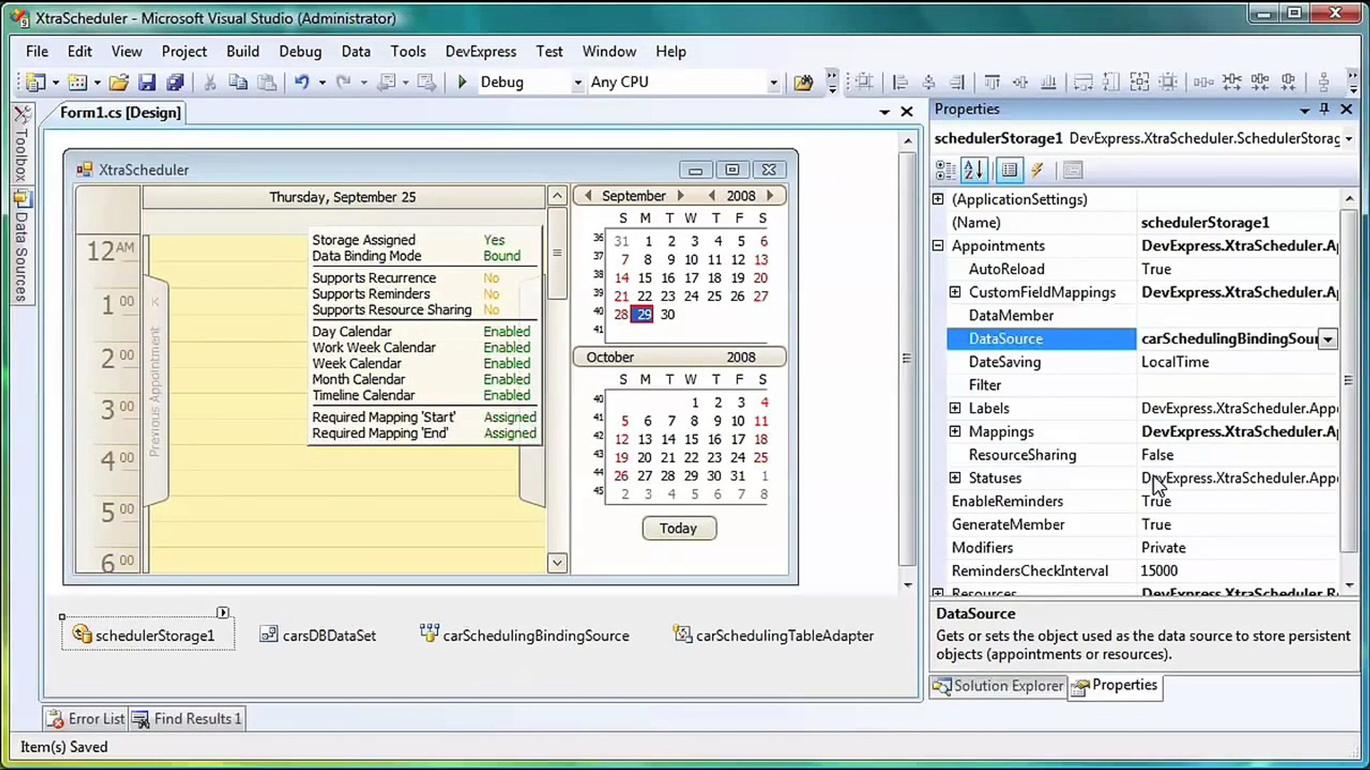 WinForms Calendar-Scheduling Control - Binding to Data
