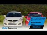 Chevrolet Sail U-VA vs Maruti Suzuki Swift Shootout | MotorBeam