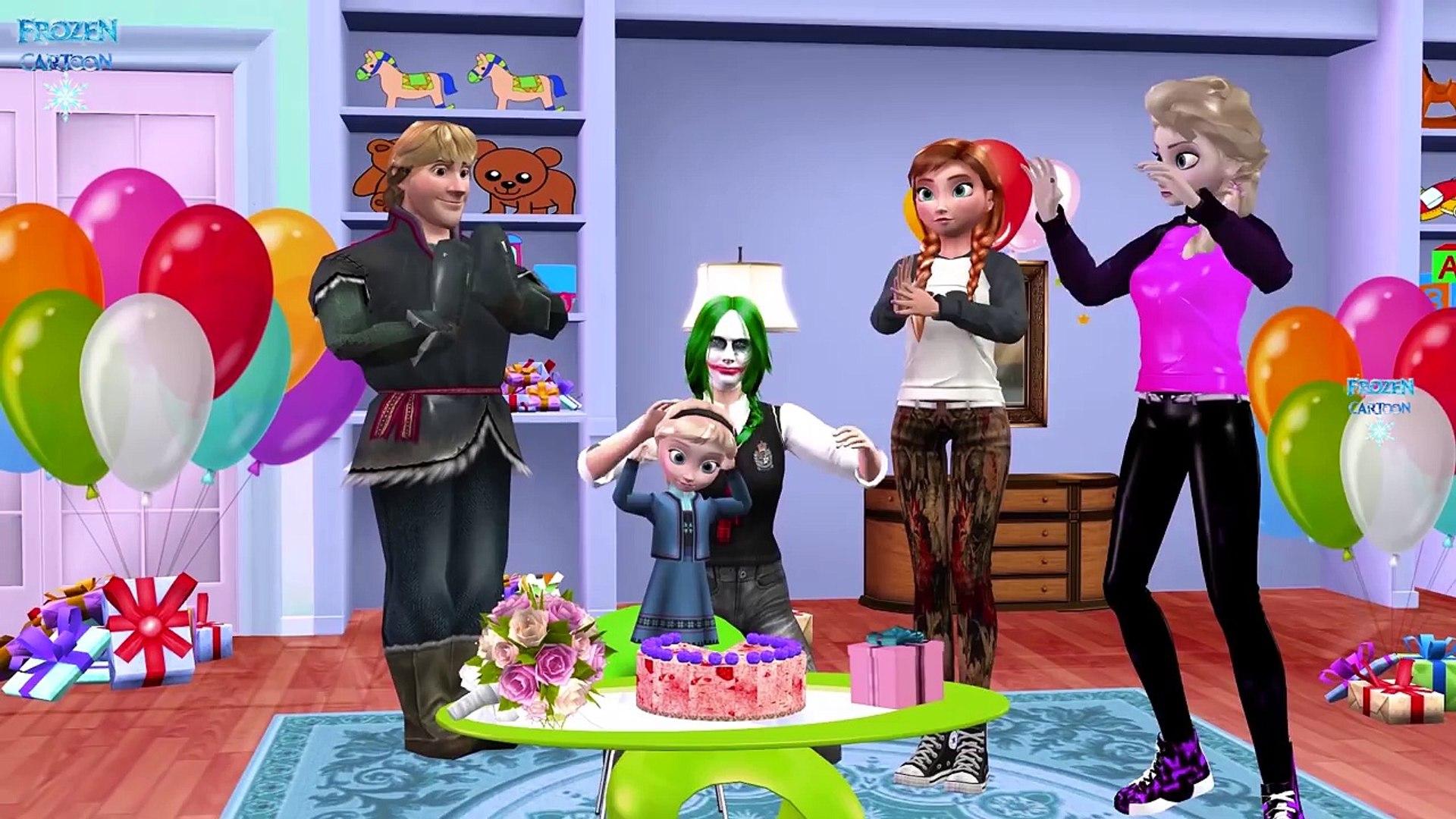 Joker Girl Frozen Little Elsa Happy Birthday Song | Surprise Eggs Opening Spiderman Ironman Toys