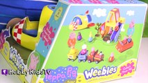 Peppa Pig Rocket Ship Toy to MOON! Grandpa Train Play + Toy Review Outer Space HobbyKidsTV