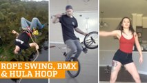 TOP FIVE: Extreme Rope Swing, Flatground BMX & Hula Hoop | PEOPLE ARE AWESOME 2016