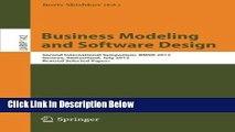 [Best] Business Modeling and Software Design: Second International Symposium, BMSD 2012, Geneva,