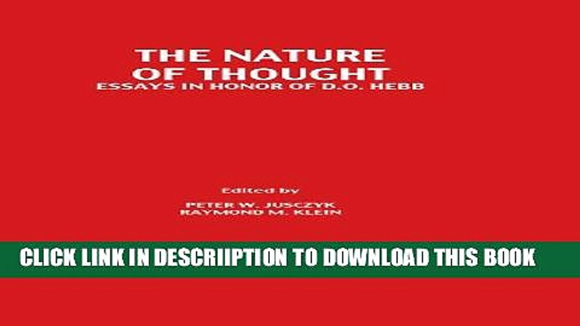 [PDF] The Nature of Thought: Essays in Honor of D.o. Hebb Full Colection
