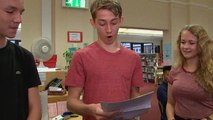 'I'm chuffed with that': students open GCSE results on live TV – video