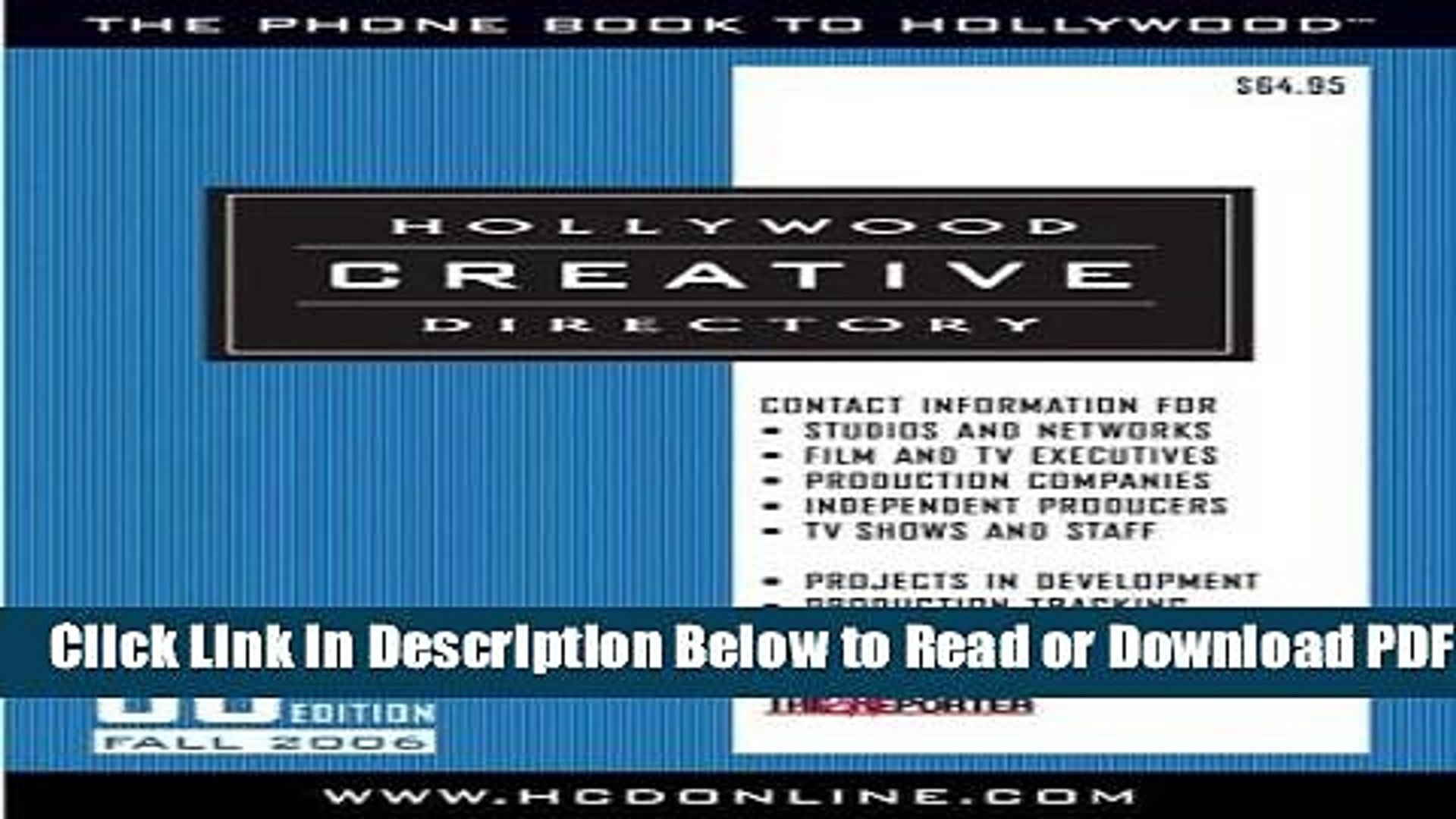 [Download] Hollywood Creative Directory: 58th Edition Free Online