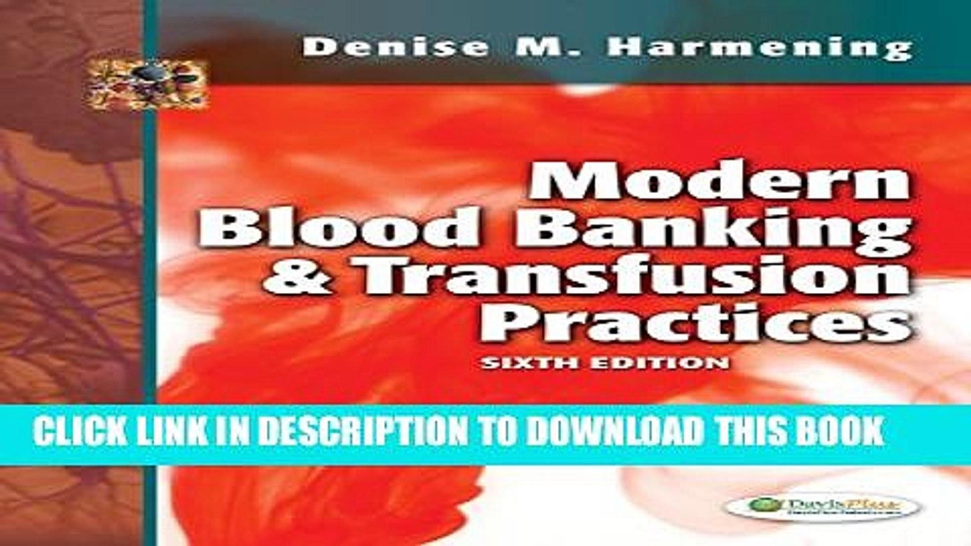 [PDF] Modern Blood Banking   Transfusion Practices Full Online