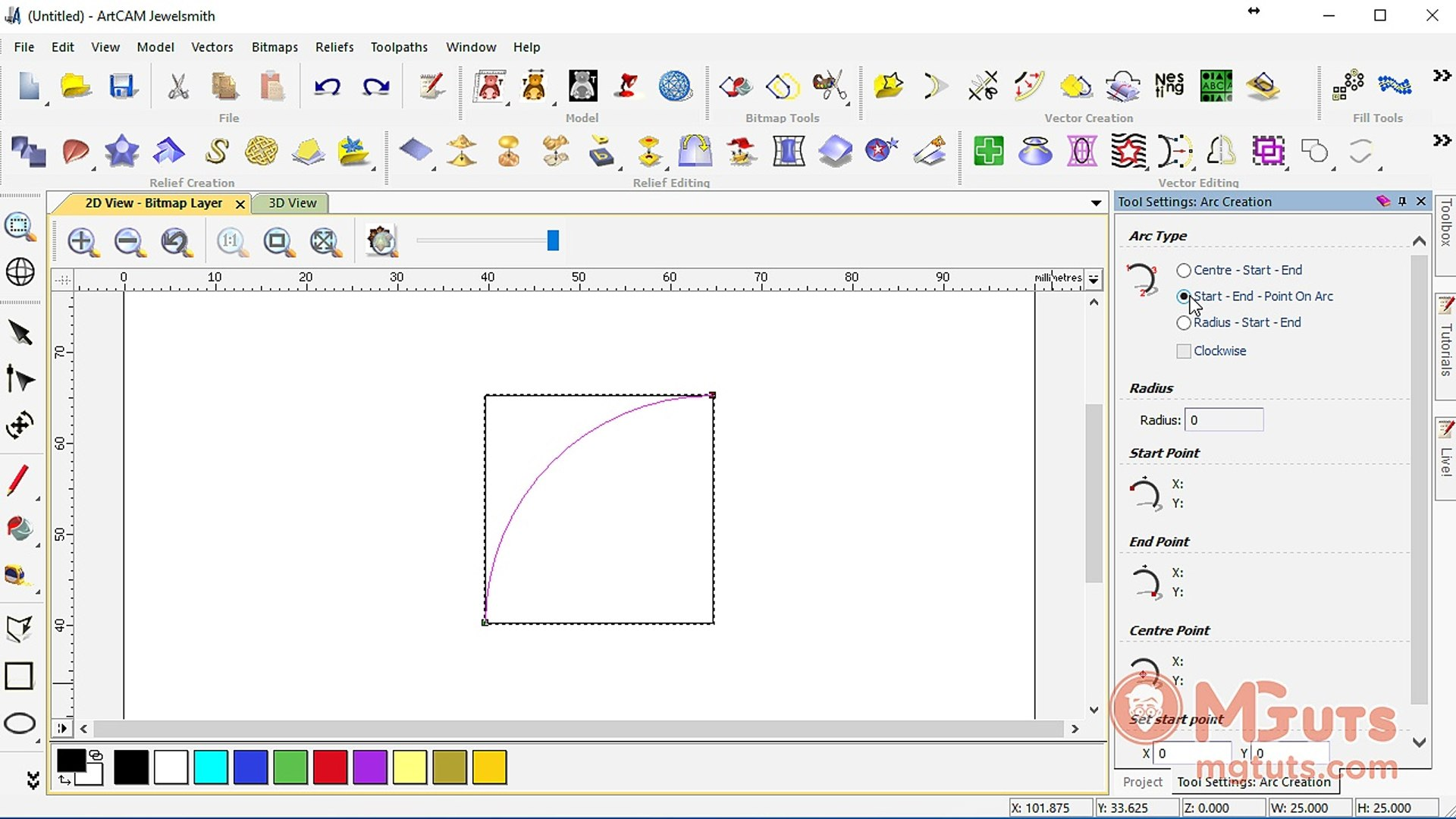 How to use Artcam Arc tool - Free Artcam video tutorials for new beginners