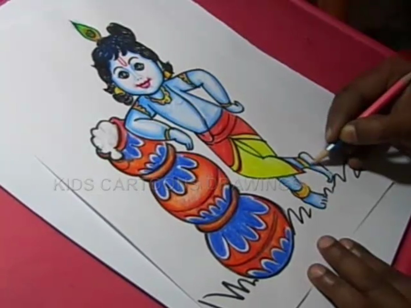 How To Draw Lord Little Krishna Color Drawing For Kids Step By Step Video Dailymotion