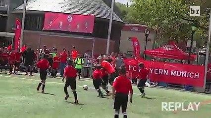 Vidal and Xabi Alonso take on 40 children