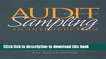 Download Audit Sampling: An Introduction to Statistical Sampling in Auditing  Ebook Online
