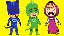 Masha And The Bear with PJ Masks Catboy Gekko Owlette Crying in Prison policeman Car