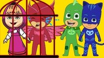 Masha And The Bear with PJ Masks Catboy Gekko Owlette Crying in Prison policeman parody