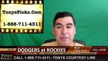 Colorado Rockies vs. LA Dodgers Free Pick Prediction MLB Baseball Odds Series Preview