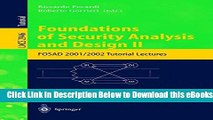 [Download] Foundations of Security Analysis and Design II: FOSAD 2001/2002 Tutorial Lectures Free