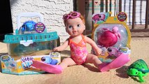 SWIMMING BABY DOLL & Turtles! Baby Born I Can Swim Doll Swims in Pool Underwater Little Live Pets