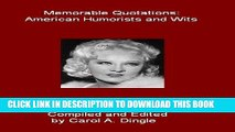Collection Book Memorable Quotations: American Humorists and Wits
