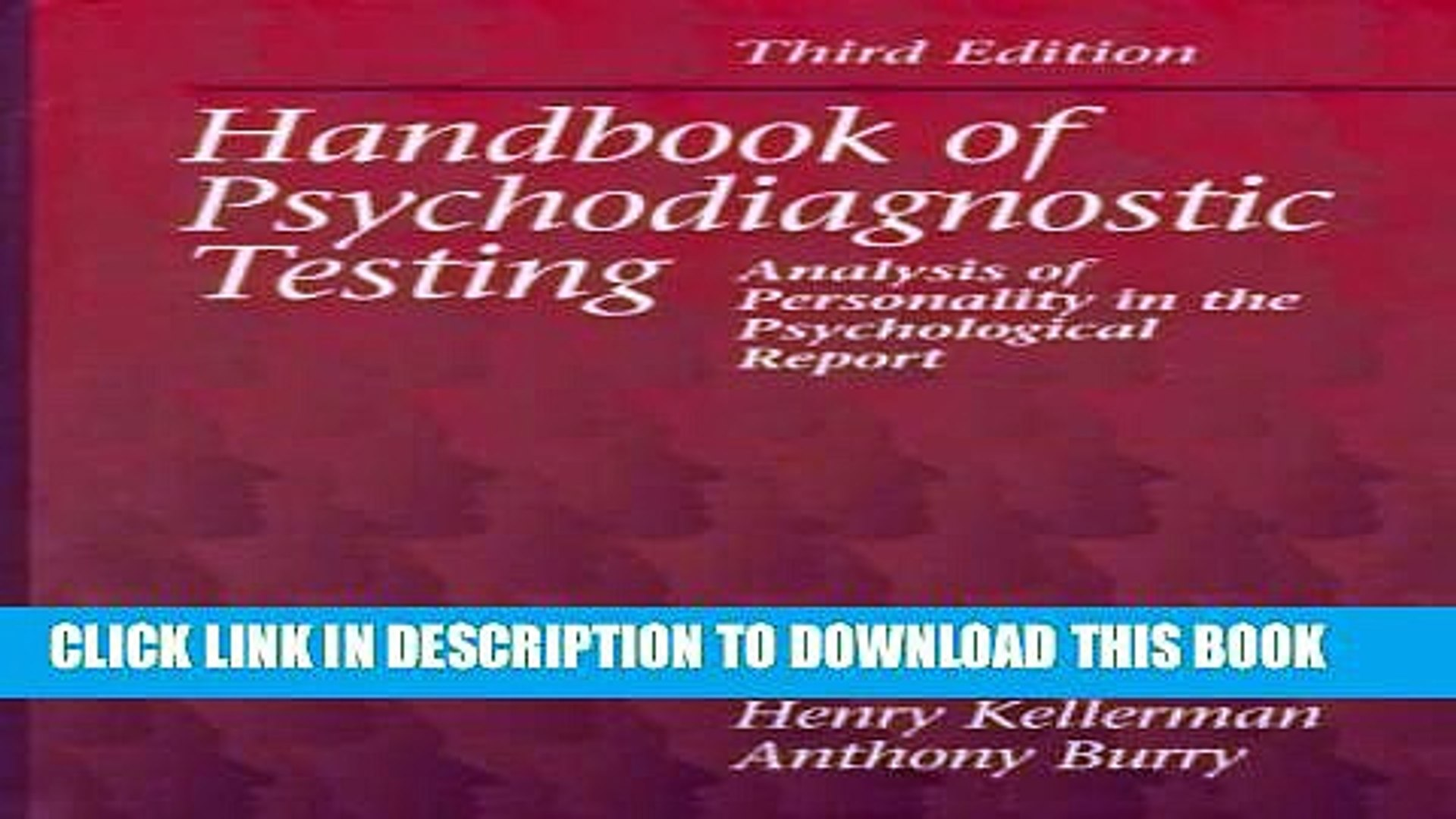 Handbook of Psychodiagnostic Testing: Analysis of Personality in the Psychological Report