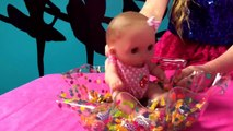 Real princess Ella unboxing a new little cutesies baby doll and DIY cotton candy machine.