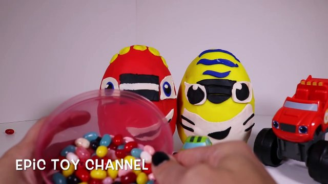 BLAZE and the MONSTER MACHINES! Giant Play Doh Surprise Eggs with Blaze Pickle and Stripes!