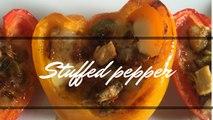 Stuffed capsicum with chicken & mozzarella|Stuffed Peppers|Stuffed Capsicum recipe|Baked capsicum