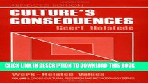 New Book Culture s Consequences: International Differences in Work-Related Values (Cross Cultural
