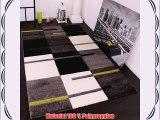 Designer Teppich mit Konturenschnitt Karo Muster Grün Grau Schwarz Grösse:160x230 cm