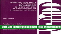 [Get] American and Japanese Business Discourse: A Comparison of Interactional Styles (Advances in