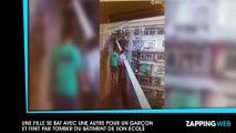 Une fille se bat avec une autre pour un garçon et finit par tomber du bâtiment de son école (vidéo)