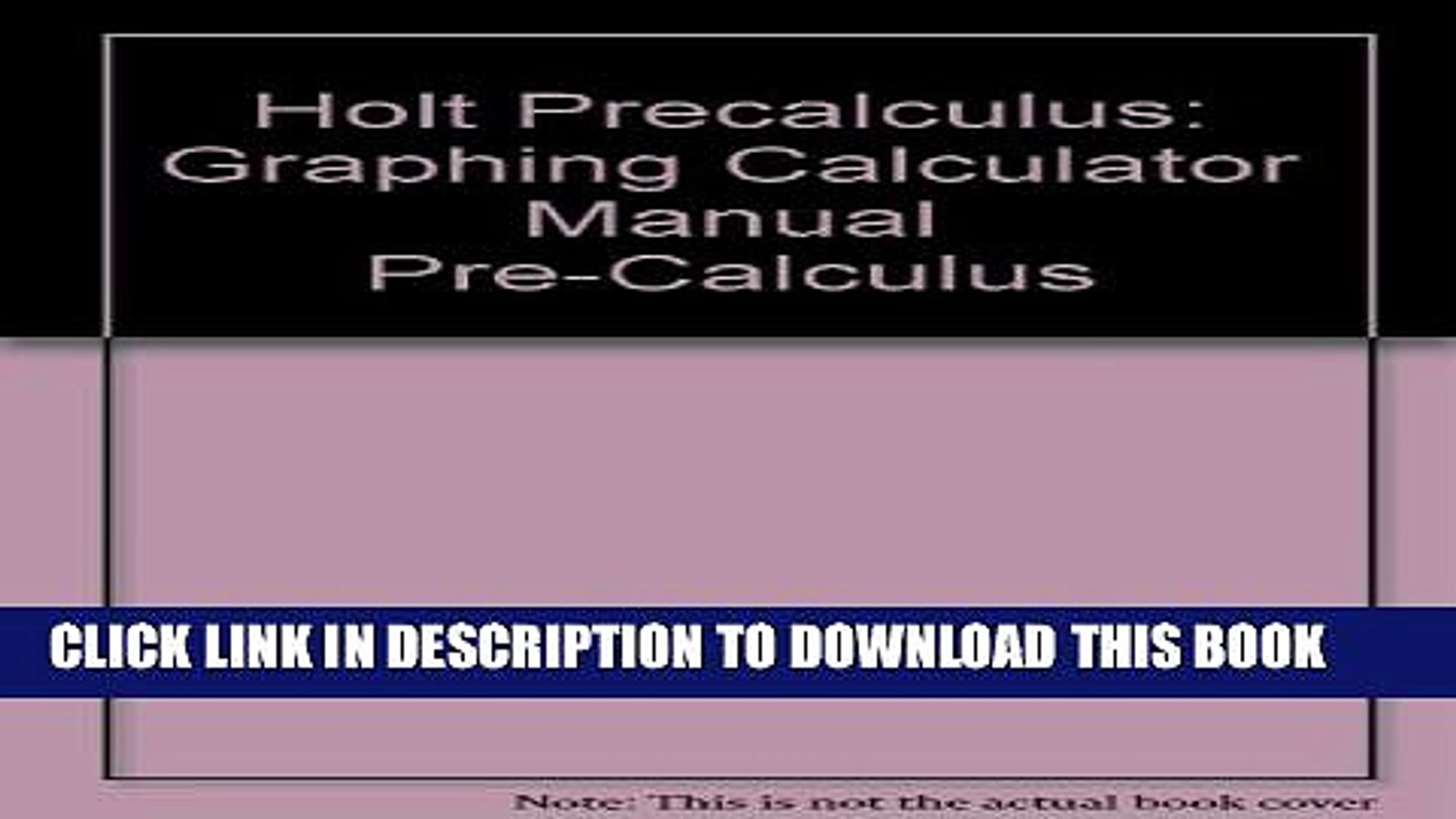[PDF] Holt Precalculus: A Graphing Approach: Graphing Calculator Manual  Full Online