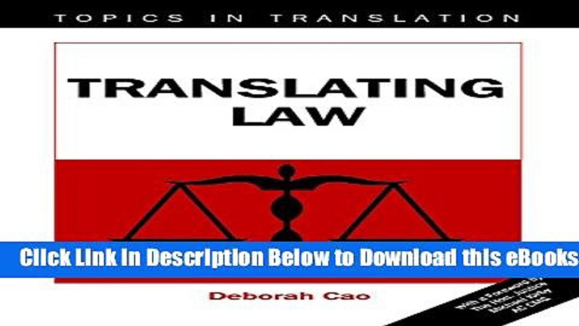 [Reads] Translating Law (Topics in Translation) Free Books