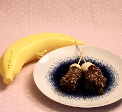 Sucettes gourmandes banane, chocolat et pralin