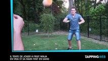 Un jeune homme tente de jouer à Fruit Ninja en vrai et finit avec la main en sang (vidéo)