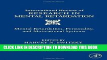 New Book International Review of Research in Mental Retardation: Mental Retardation, Personality,