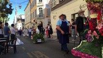 Sens Bourgogne fête de la St Fiacre exposition sur le parvis de la première Cathédrale Gothique .