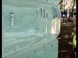 Ten-ton ice cube melting in Seattle park