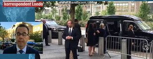 The Democratic presidential nominee appeared to faint on her way into her van and had to be helped by her